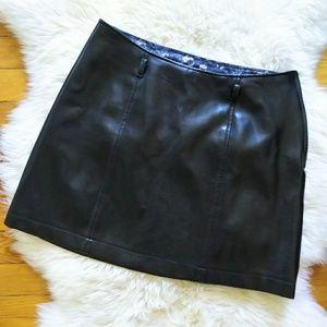 BCBG Max Azria 90s Black Vegan Leather Mini Skirt